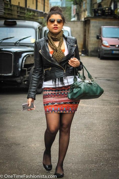 Tribal Print Skirt + Leather Jacket