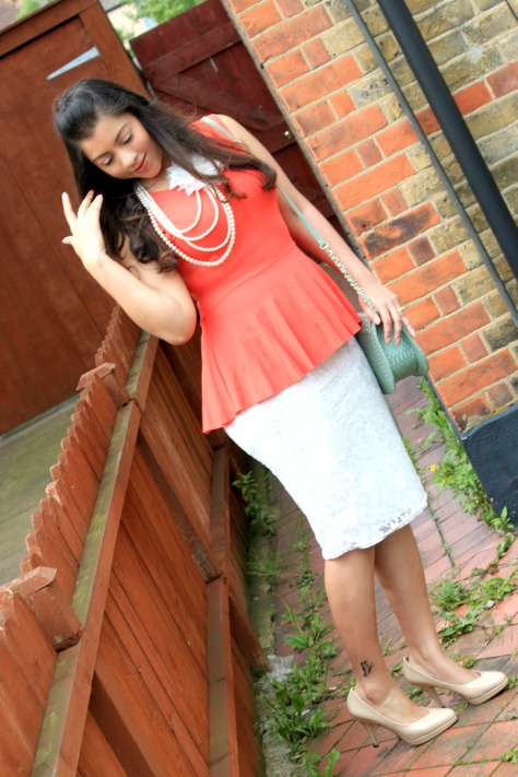 Peplum + Lace Skirt + Nude Pump + Pearl Necklace
