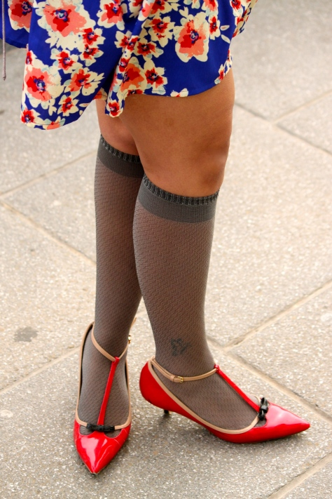 Fluoro flash with knee-high socks; Back to school days Look