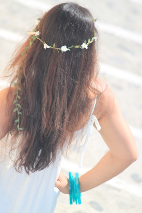 I had permed my hair temporarily to get this beach- wavy hair style before going on holiday.