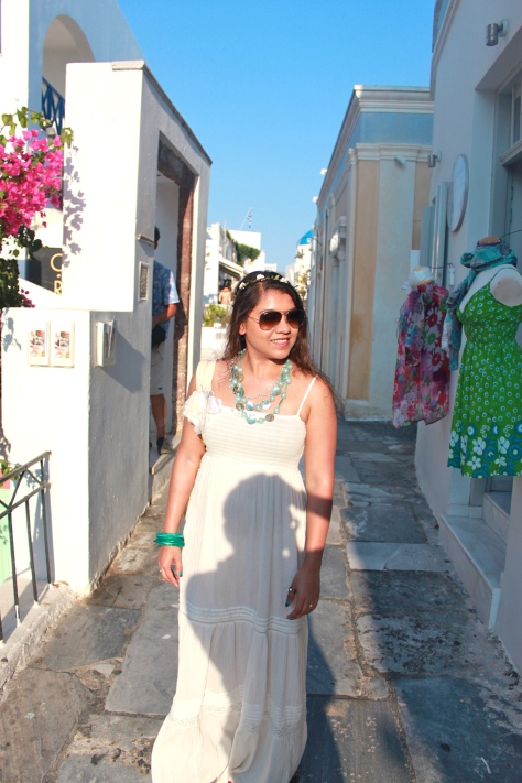 Amazing boutiques are located on both sides of the walkaway of Oia, Santorini, Greece