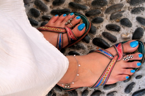 Hand embroidered multi coloured flip-flops or jootis are a local specialities of Rajasthan and Punjab in India