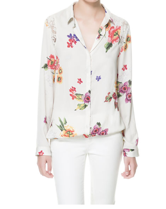 ZARA lace and flower combination shirt
