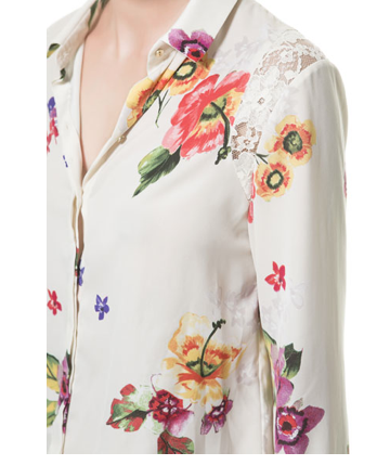 ZARA lace and flower combination silk shirt