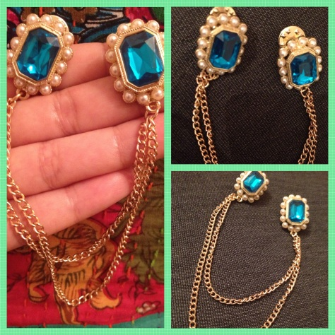 My new buy: Faux Emerald and pearl studded chained collar tips