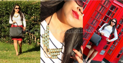 Red Lippie+ Red Pencil Skirt + Red London Telephone Box