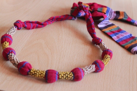 Tribal necklace made of Gamcha fabric and wooden beads