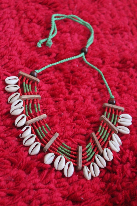 Jatra tribal necklace made of wooden beads and snail shells