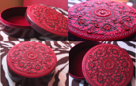 Handmade beaded embroidered with leather body Jewellery box  from Aarong is a present from my ex-students Marzia and Arif