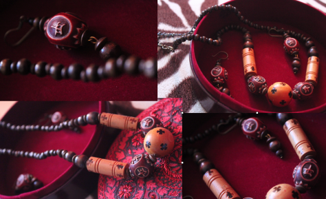 Handmade wooden jewellery set from Aarong is a present from my ex-students Marzia and Arif