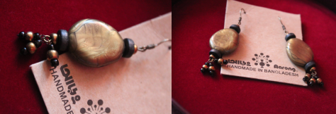 Handmade gypsy ear ring from Aarong is a present from my ex-students Marzia and Arif