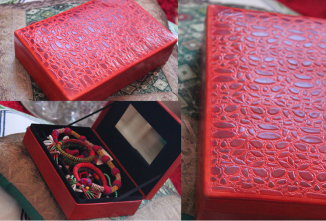 Handmade leather embossed jewellery box with mirror set inside- from Aarong, Bangladesh . It was a gift from a long lost friend-Rima whom I met after 17 years