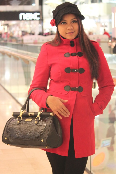 Red buckle duffle coat