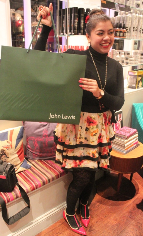Here I pose with my hamper won at the raffle draw-Thanks to John Lewis