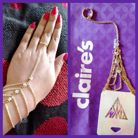 Katy Perry Prism collection hand chain for Claire's -Round aurora borealis stones accent with four gold chains attached to one expendable ring