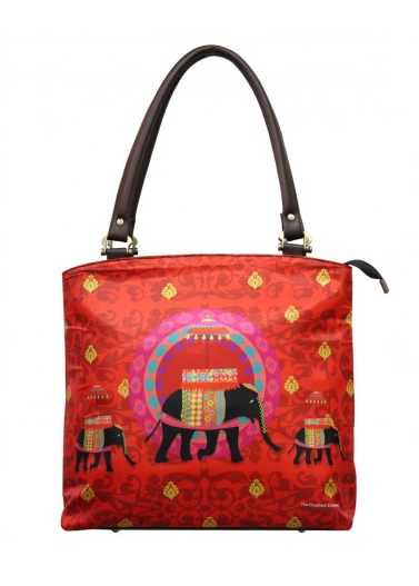Elephant Butti Red Leather Handbag