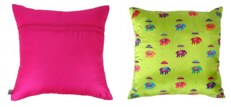 Flying Elephants Green Square Cushion Cover