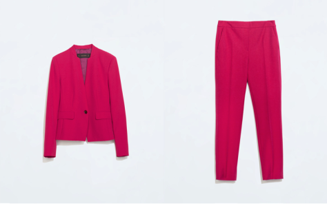 A Colored blazer: This Magenta blazer from Zara's Autumn-winter collection is the perfect throw-and-go layerings—they're super comfy, and never look wrinkled. I have an occasion in my mind to do justice to this classic piece of clothing. I am going to pair with a pair of ivory brogue from River Island and will be full-on match-o-much with a pair of cropped trouser from the brand.