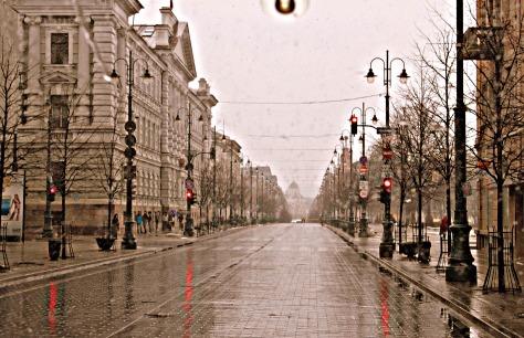 Rain soaked Vilnius city