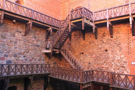 The inner yard of the palace and its wooden stair galleries