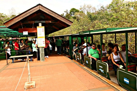 A short in-park train ride to get up to Iguazu Falls
