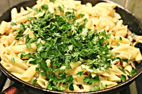 Adding chopped parsley