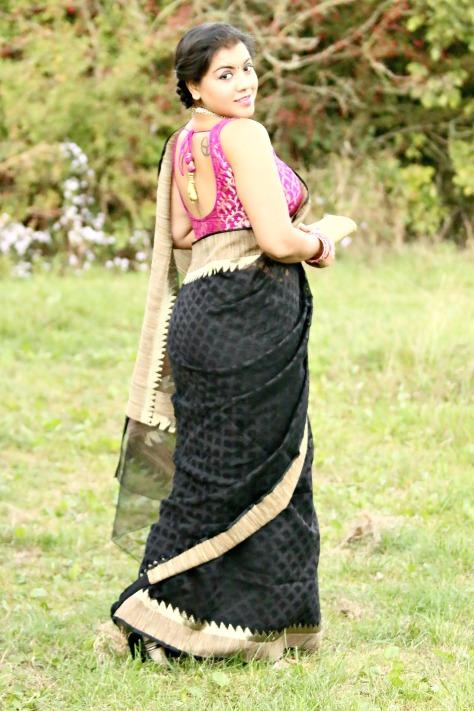 SareeSutra: Durga Puja Look 2: A Marriage of Bamboo Silk  & Benarasi