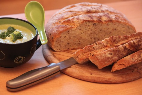 Healthy Weeknight Dinner: Seed & Grain Loaf Served With Broccoli Soup