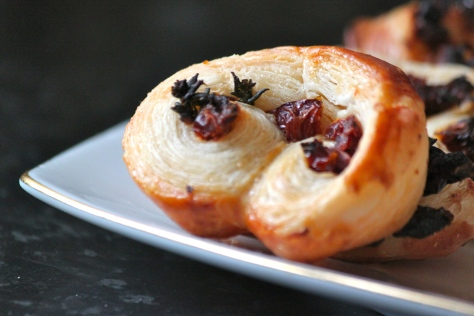 Sun-dried tomato and thyme palmiers