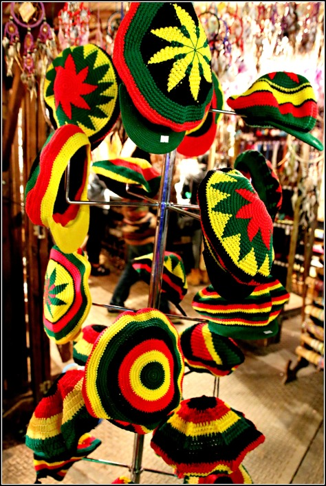 Jamaican rastafarian hats are also available in one of those shops there