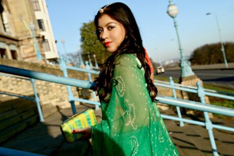 SareeSutra: Rajasthani Bandhej Chiffon Tie & Dye: A Mehendi Ceremony Guest Look