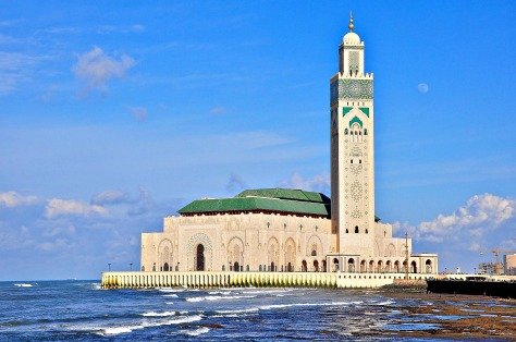 King Hassan II mosque is situated on the atlantic coast of the city Casablanca, listed as the largest mosque in Morocco and Africa and 7th largest in the world