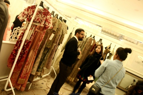 Designer par excellence Sabyasachu Mukherjee at his stall interacting with clients