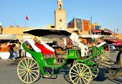 Calèche in Marrakech; it is a horse-drawn carriage that offer a unique way to enjoy the Marrakech medina