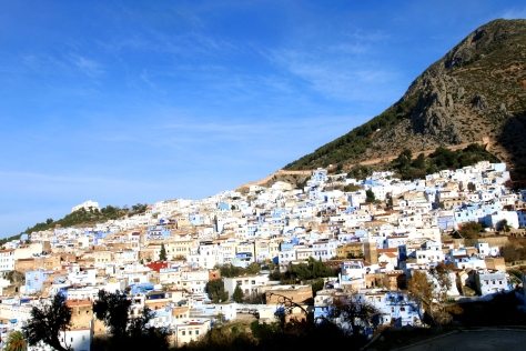 Panoramic view of the blue town of Morocco- Chefchaouen, proved to be a mountain paradise; by far my favorite location in Morocco
