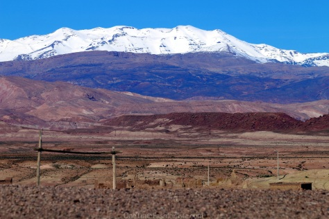 View of the Atlas Mountains while driving across the dramatic Tizi N'Tichka Pass