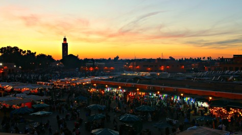 We saw the last sunset of 2014 overlooking the bustling Jemma el Fna square, the heart of Marrakesh.