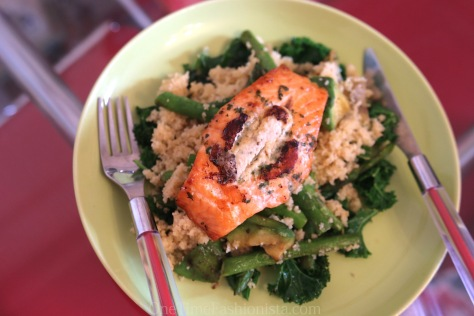 Healthy Weeknight Bite: Blue Cheese Stuffed Grilled Salmon On A Bed of Couscous, Asparagus, Avocado, Kale And Spinach