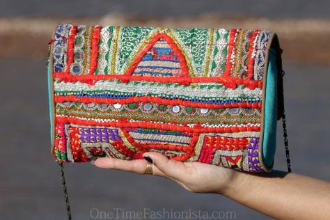 The embroidery on the reverse side of this Kutch Love Clutch also leaves me stunned!