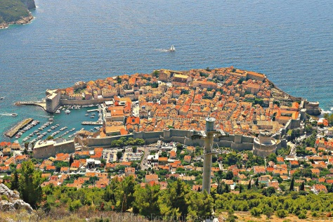 Aerial view of Dubrovnik Old town from the southeast