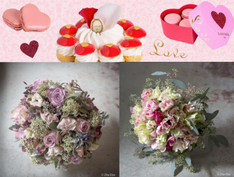 Zita Else bespoke bouquets & a crystal heart gift box of macarons