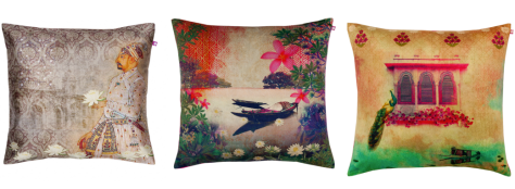 From left to right:The Nawabs Sonnet Poly Taf-Silk Cushion Cover, River Boat Poly Velvet Cushion Cover and Peeping Peacock Poly Velvet Cushion Cover