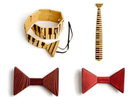 Above: Piano Wooden Tie Below: Color Wood Bow Tie