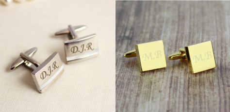 Left: Engraved initials Mother of Pearl Cufflinks Right: Engraved Gold Plated Square Cufflinks