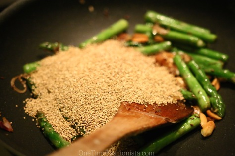 Healthy Weeknight Bite: Sea Bass- Quinoa Pulau With Roasted Nuts And Asparagus