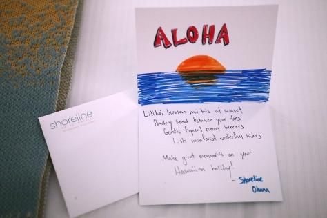 Hand written Hawaiian welcome