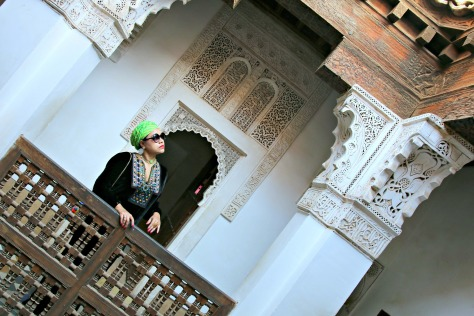 The balcony in front of the student rooms inside the Madrassa