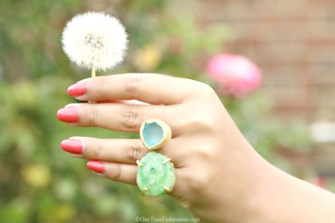 The Tale of Two Stones Green Druzy Blue Topaz Gold Ring