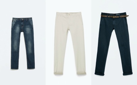 Levi's denim chinos, M&S cream fitted trouser, H&M navy chinos