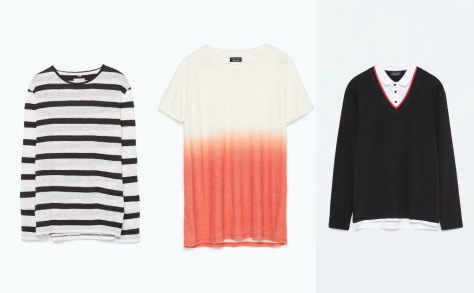 Zara striped linen t-shirt, two-tone short sleeve sweater, polo collar t-shirt